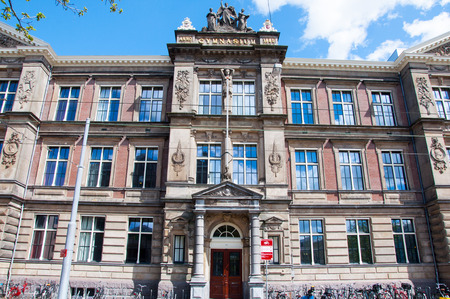 music venue: AMSTERDAM-APRIL 30: The Barlaeus Gymnasium. Amsterdam, the Netherlands.The school stands in front of music venue Paradiso, close to the Leidseplein. Editorial