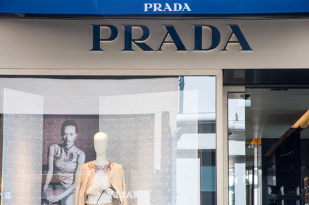 prada: AMSTERDAM-APRIL 30: Prada store in the P.C.Hooftstraat shopping street on April 30,2015 in Amsterdam. The Italian fashion house was founded in 1913 by Mario Prada.