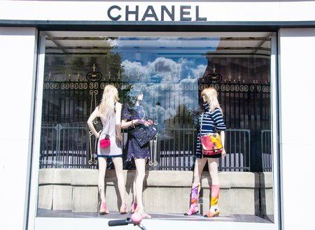 chanel: AMSTERDAM-APRIL 30: Chanel store in the P.C.Hooftstraat shopping street on April 30,2015 in Amsterdam. The French, privately held company was founded in 1909.