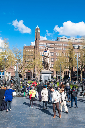 rembrandt: Amsterdam-April 30: Rembrandtplein with Rembrandt monument and representation The Night Watch, by Mikhail Dronov and Alexander Taratynov on April 30, 2015, the Netherlands.