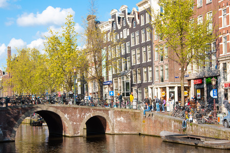 red light district: Amsterdam-April 30: Red light district, crowd of tourists enjoy sightseeing on April 30,2015, the Netherlands.
