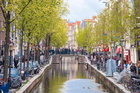 red light district: Amsterdam-April 30: Amsterdam Red Light District, crowd of tourists go sightseeing on April 30,2015, the Netherlands. Editorial