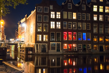 red light district: Red light district at night.  Amsterdam city center, the Netherlands. Editorial