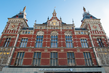 01: Amsterdam-May 01: Facade of the Amsterdam Centraal Station on May 01,2015 in Amsterdam, Netherlands.