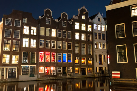 red light district: Red light district at night in Amsterdam, the Netherlands.