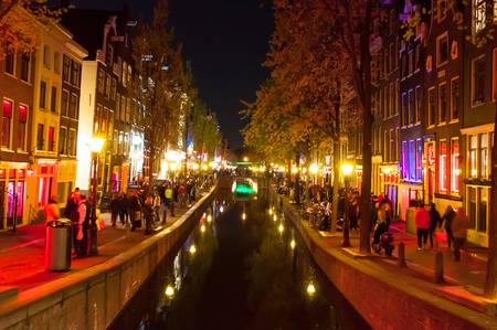red light district: Amsterdam-May 1: Red light district Wallen at night on May 1,2015 in Amsterdam, the Netherlands. Editorial