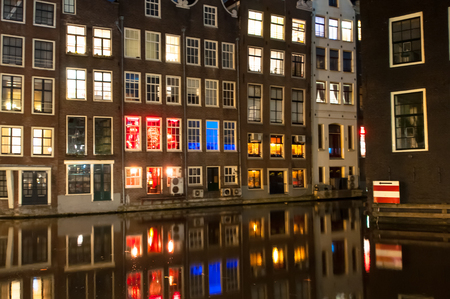 red light district: Red light district at night in Amsterdam.