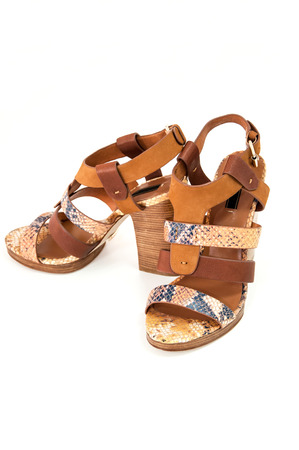 opentoe: Pair of womens open-toe sandals decorated snake  leather isolated on white.