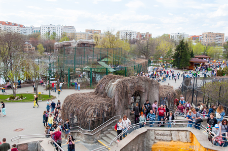 Moscow, Russia-May 01,2017: Moscow Zoo during the midday, crowd of people go sightseeing.