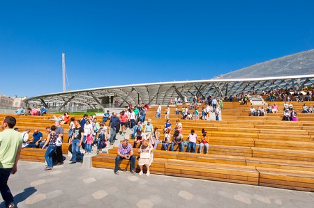 Moscow, Russia May-27,2018: Zaryadye Park and Amphitheater full of locals and tourists during the sunny day.
