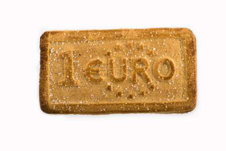 Cookies with the euro currency symbols on the white background.