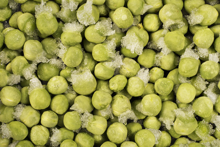 pea pod: Close-up of frozen green peas with ice crystals. Food background.