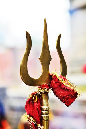 27 February 2014, Shiva Trishul on Maha Shiva Ratri selebration (Grand Shiva Night) at Pashupatinath Temple. Shiva Trishul - Meaning and Significance of Lord Shiva Trident. Katmandu, Nepal. Stock Photo