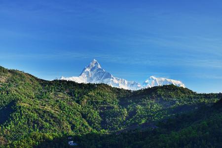 Mt. Machapuchare (fish tail) view from mt. Sarangkot, Annapurna region, Nepal