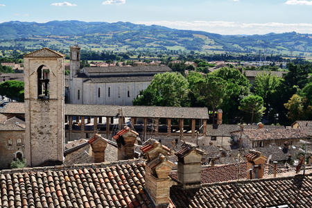 Medieval tiling roofs panorama and Palazzo dei Consoli in Gubbio, Umbria Region, Perugia Province  Metropolitan city, Italy. Stock Photo