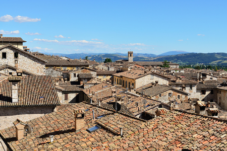 Medieval tiling roofs panorama in Gubbio, Umbria Region, Perugia Province  Metropolitan city, Italy. Stock Photo