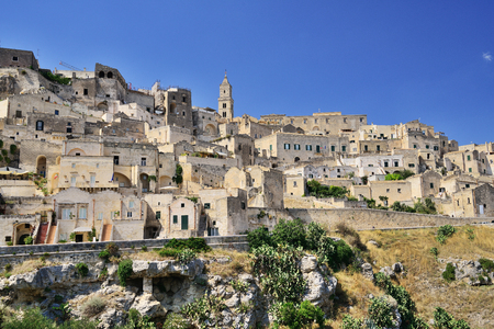 Panoramic view of the medieval ancient town of Matera (Sassi di Matera), Basilicata, Italy.