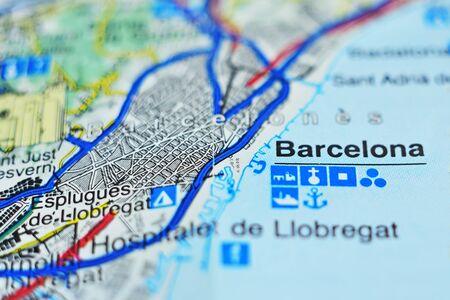 Barcelona as a tourist destination on map.