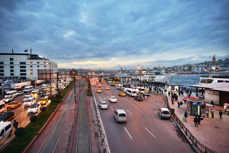 2012 November 23, view to Galata bridge, ferries, Golden Horn Bay and Galata Tower, Istanbul, Turkey Editorial