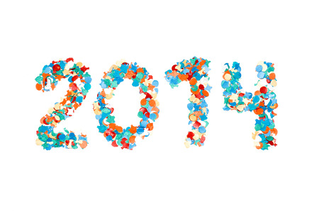 2014 carnival date made with recycled paper colorful confetti isolated white photo