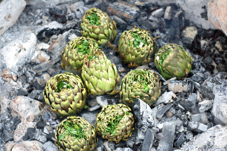 ember: Cooking artichokes on ember in a wild campground
