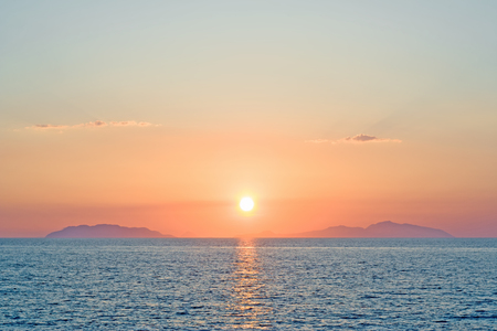 eolian islands: Romantic sunset over eolian islands Sicily Italy