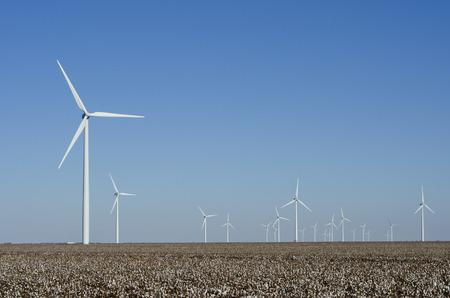 The enormous size of wind turbines on the Brazos Wind Farm in the Panhandle of Texas dwarfs