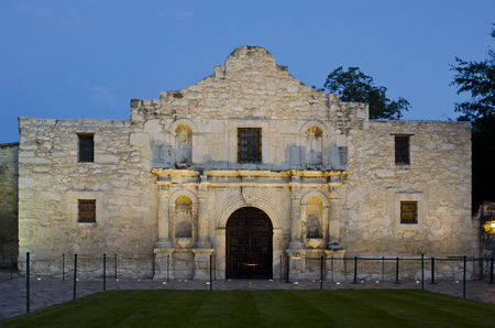 The Alamo in San Antonio, Texas was built as a mission for Spanish missionaries to convert and educate local Indians.  First built in 1744, the church and its surrounding grounds and buildings have long been known for the heroic battle that took place her Stock Photo