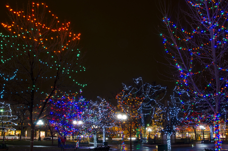 The Plaza in Santa Fe is decorated with thousands of Christmas lights for the holiday season.