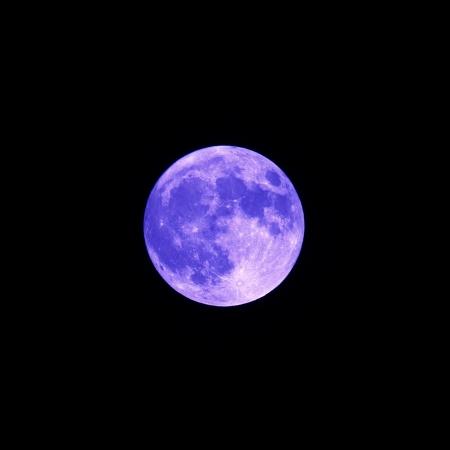 lunacy: Blue Full Moon on Black Sky Background Square