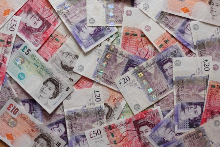 wad: Mix of british pound sterling banknotes
