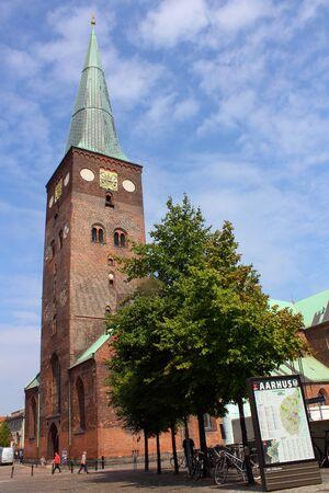 longest: Denmark, Aarhus, 22 August 2013 - historic St  Clemens Cathedral in old town of Aarhus, the longest church in Denmark