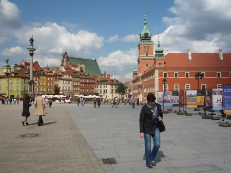 Poland, Warsaw, Old Town, 08 September 2010 - view of the Castle Square  Plac Zamkowy in Polish , the Royal Castle and the column of King Sigismund III Vasa from 1644 - the oldest monument in Warsaw