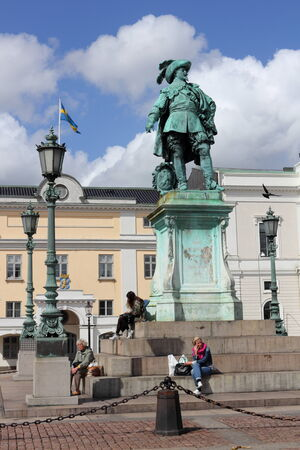 gustaf: Sweden, Goteborg, 19 May 2011 - Monument to the Swedish King Gustav II Adolf, the founding father of Gothenburg, at Gustaf Adolfs Torg Editorial