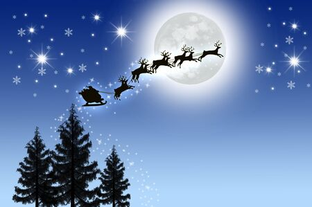Santas Sleigh in Night sky with moon