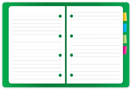 isolated Green notebook on white background Stock Photo