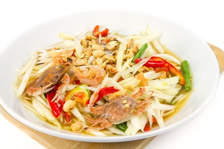 Thai Style Salad which mixed with papaya in thailand photo