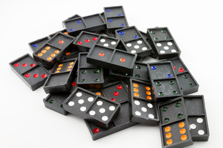 black domino on white background Stock Photo