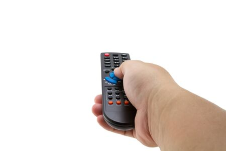 remote control in hand on white background