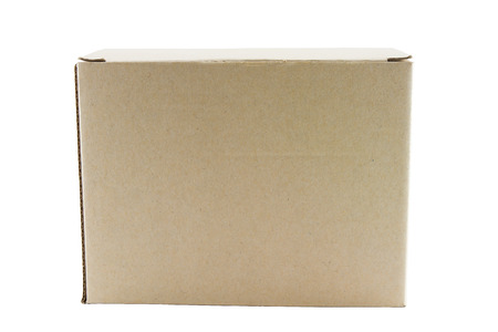 Closed cardboard box on a white background Stock Photo