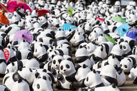 CHIANG MAI, Thailand - March 19, 2016 : 1600 Pandas World Tour in Thailand by WWF at Tha-Pae Gate . 1600 paper marche pandas are made from recycled materials to represent 1600 pandas left in the wild