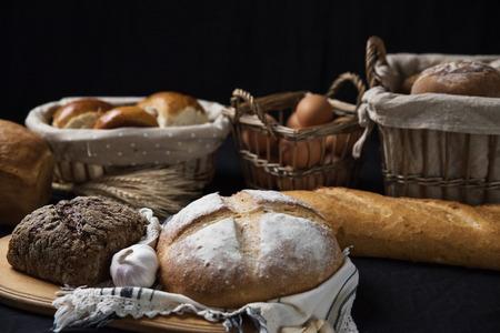 Assortiment van gebakken brood Stockfoto