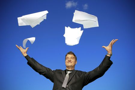Young man throws away his documents. Stock Photo