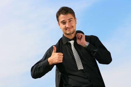 Business man showing okay sign Standard-Bild
