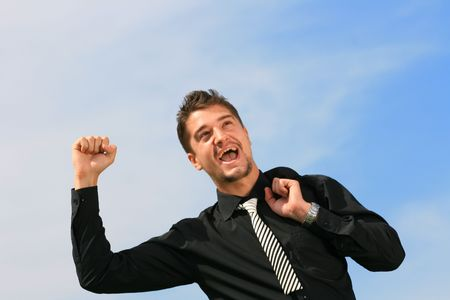 Business man receives news of his success. Stock Photo