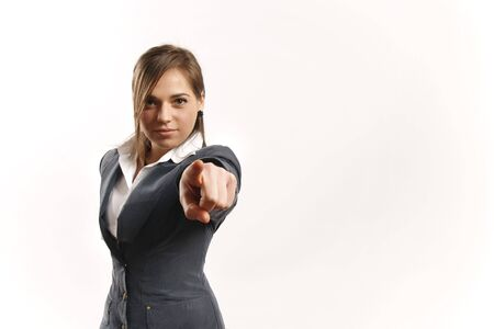 Business woman pointing at camera photo