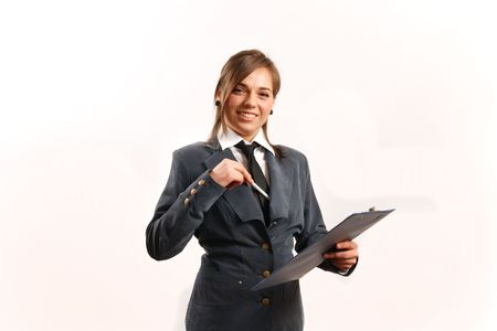 сooking: Business woman taking notes. Stock Photo