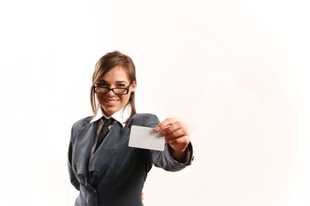 Business woman giving away her card. Stock Photo