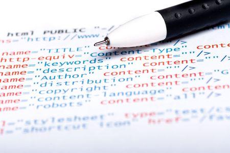 Gedruckt auf Papier Computercode Technologie Hintergrund Standard-Bild - 4424848