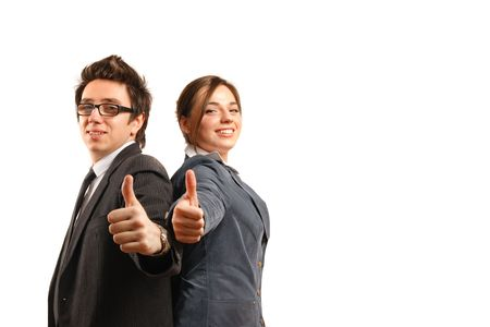 Two business partners looking at the camera while showing okay sign